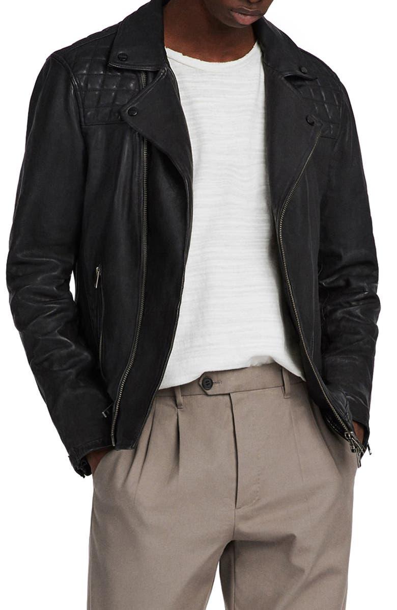 ALLSAINTS Conroy Leather Biker Jacket, Main, color, 412