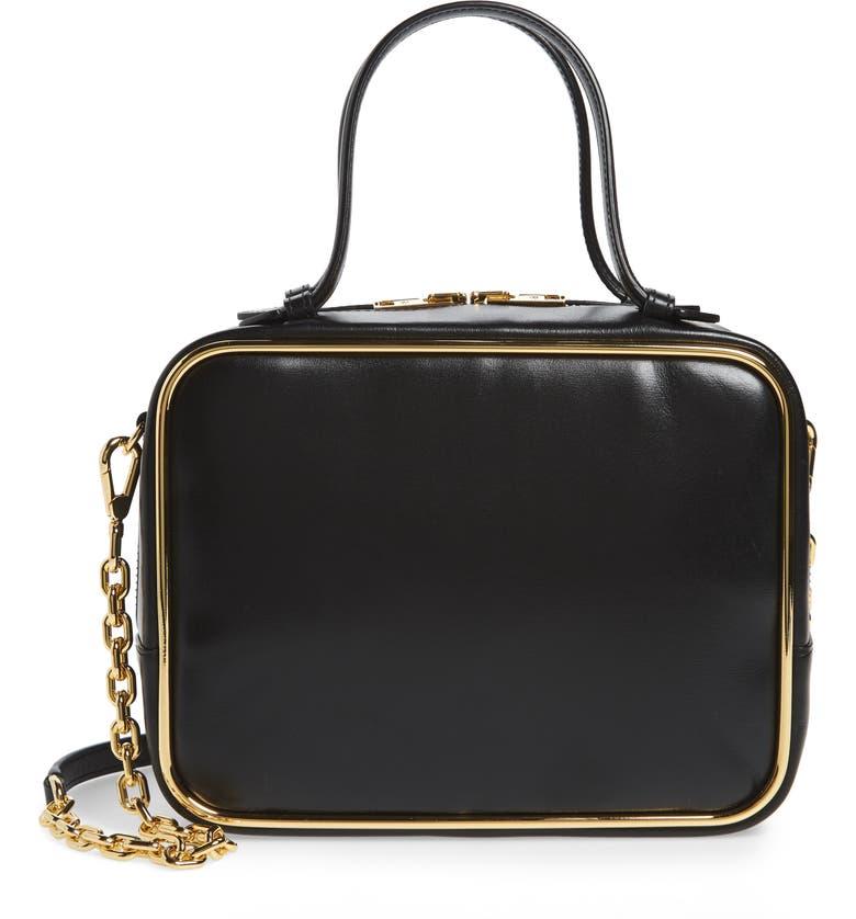 ALEXANDER WANG Halo Leather Satchel, Main, color, BLACK