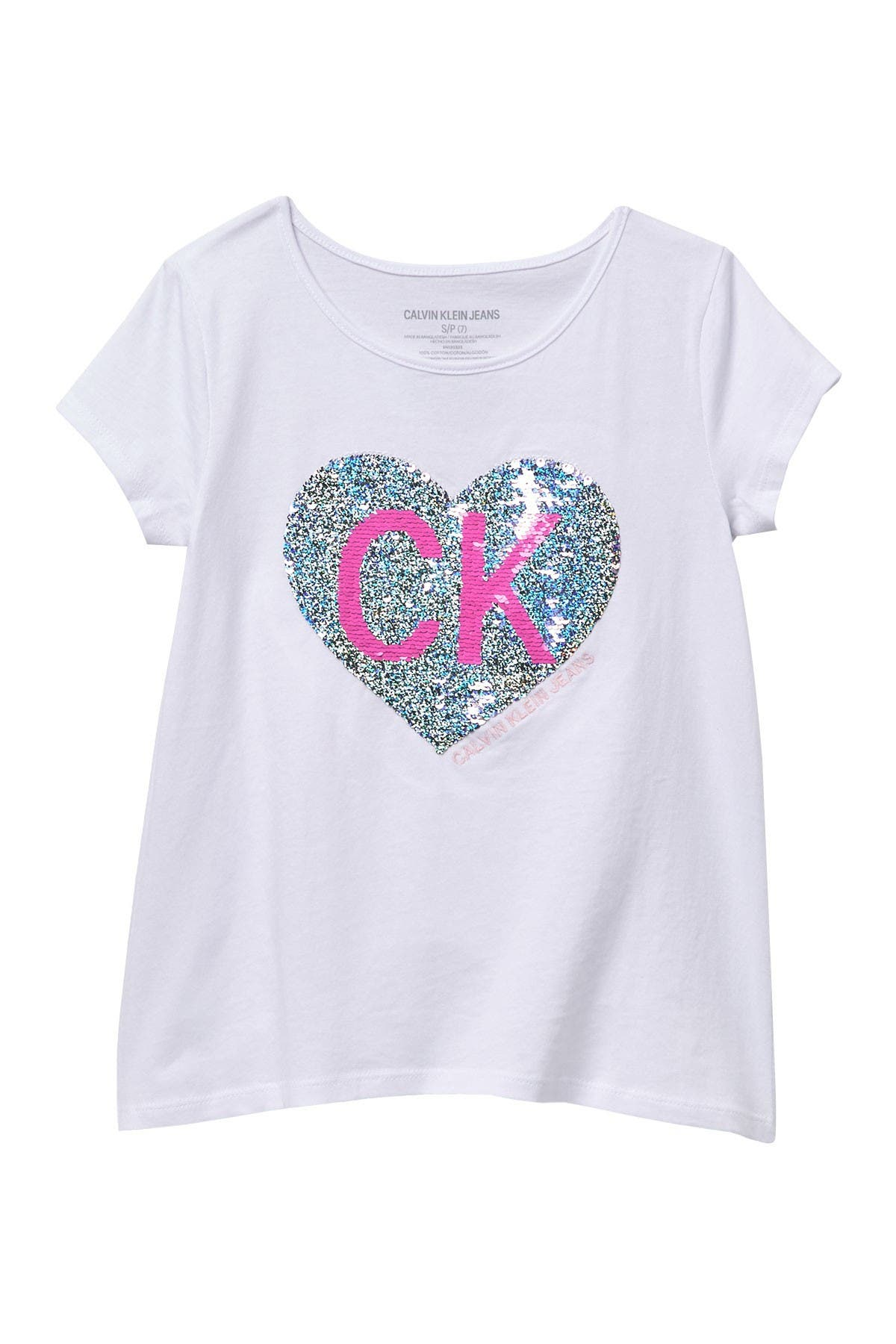 Image of Calvin Klein Glitter Heart Logo Top