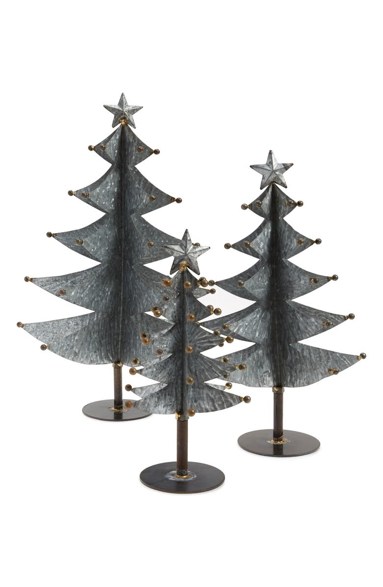 CREATIVE CO-OP Set of 3 Galvanized Tree Decorations, Main, color, GREY