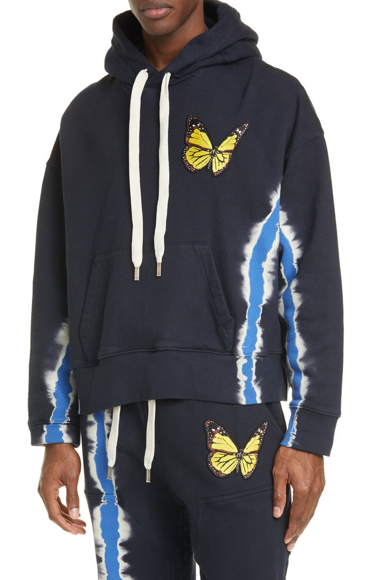 PALM ANGELS Butterfly Patch Tie Dye Hoodie, Main, color, MULTI