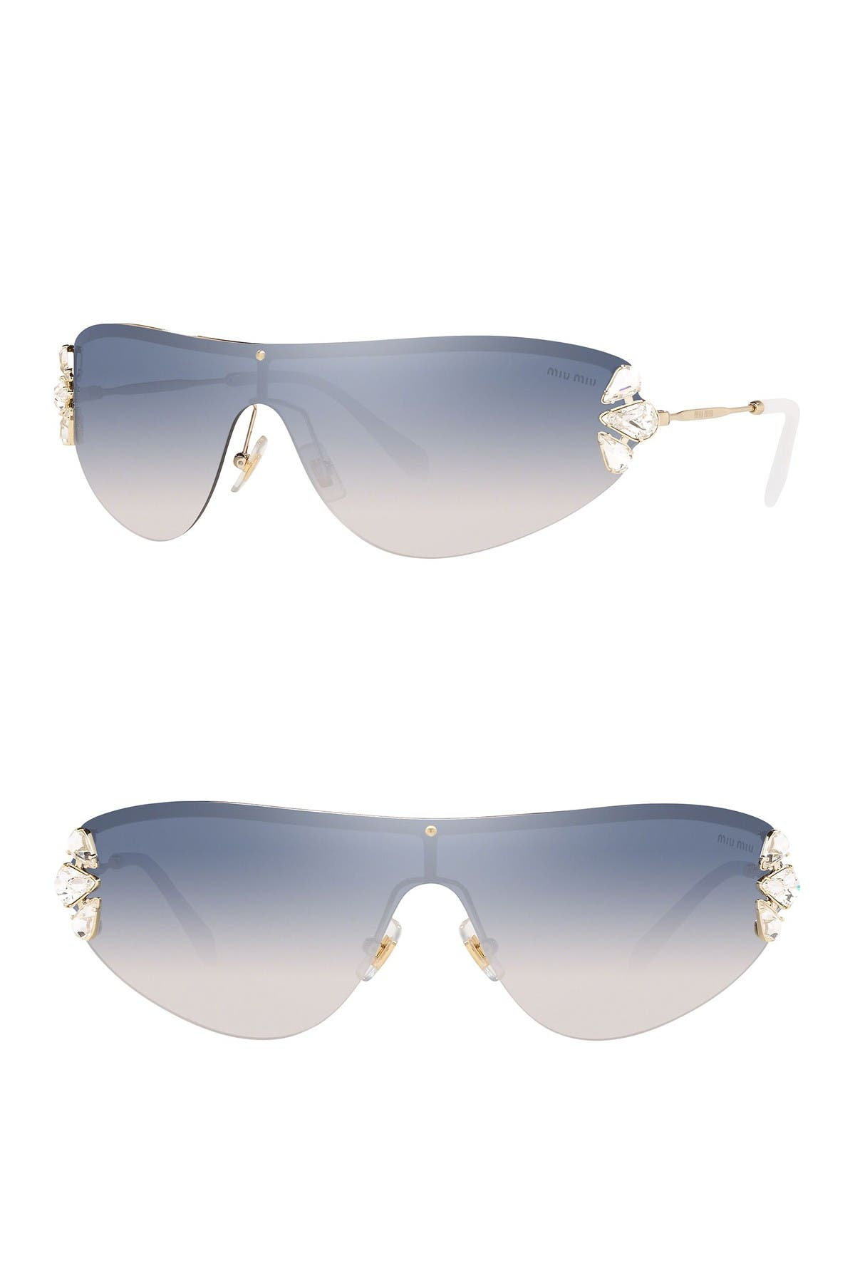 Image of MIU MIU Irregular Shape Shield Sunglasses