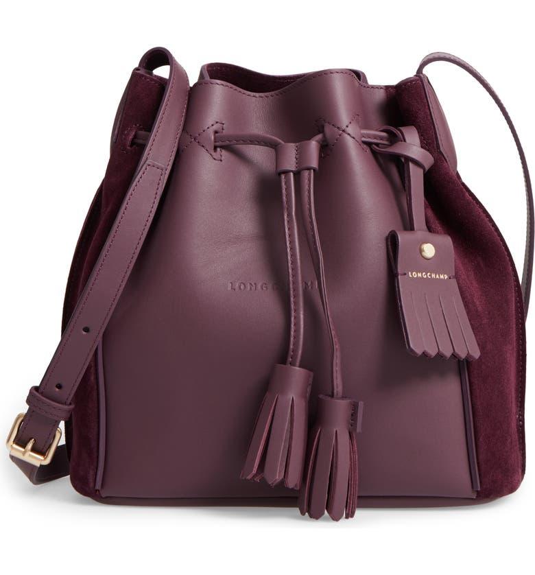 LONGCHAMP Penelope Fantasie Leather Bucket Bag, Main, color, 500