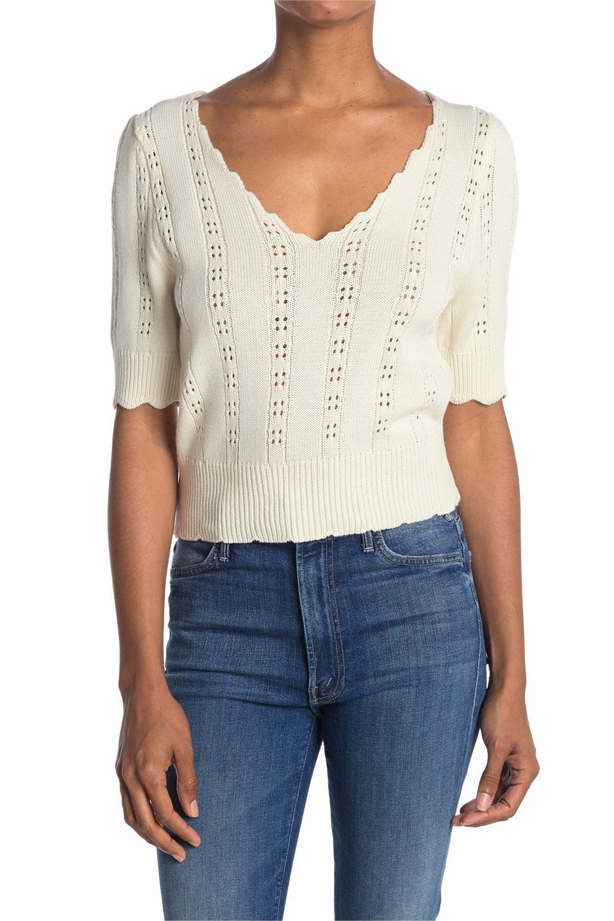 Image of Lush Scalloped Pointelle Knit Cropped Top