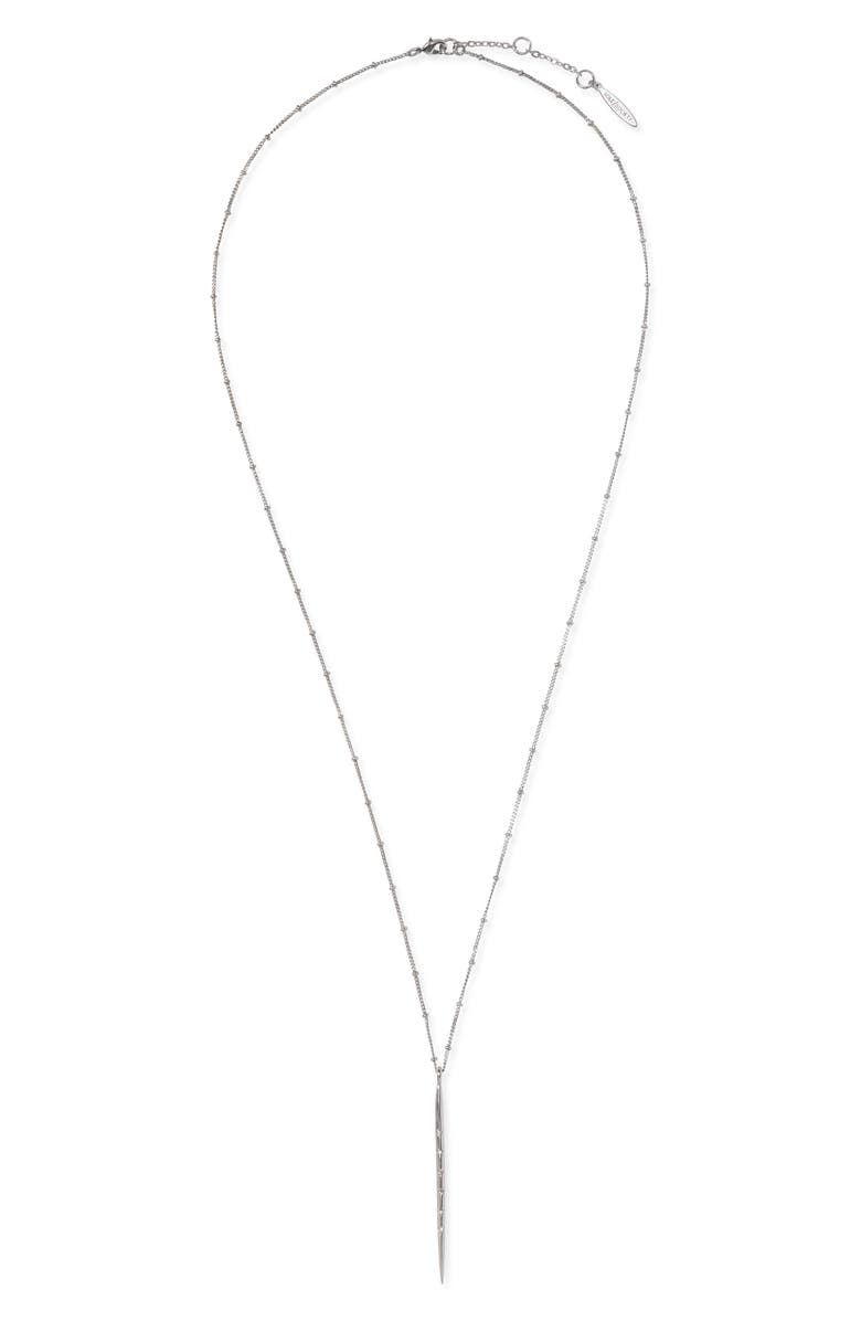 SOLE SOCIETY Stick Pendant Necklace, Main, color, SOFT POLISHED RHODIUM/ CRYSTAL