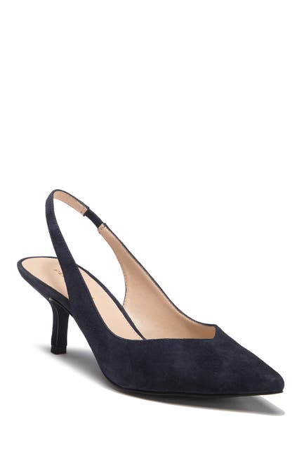 Image of Pelle Moda Oasis Suede Pointed Toe Slingback Kitten Heel