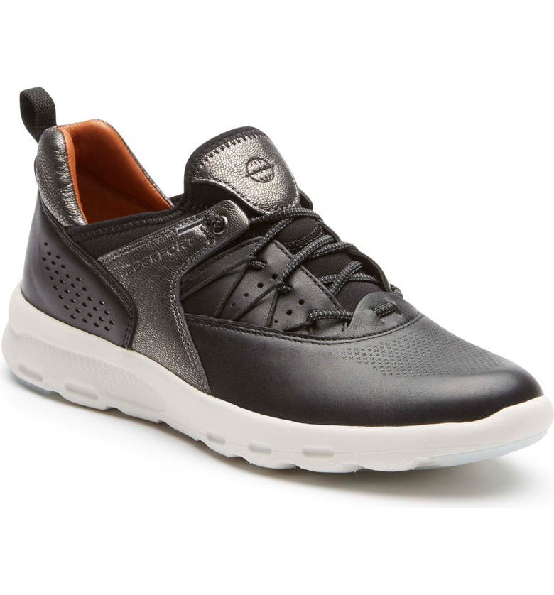 ROCKPORT COBB HILL Let's Walk Bungee Sneaker, Main, color, BLACK LEATHER