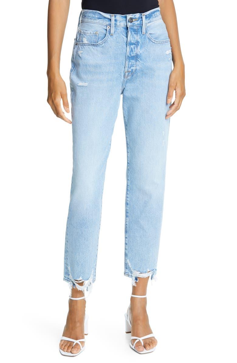 FRAME Le Original Ripped High Waist Crop Jeans, Main, color, LONDON