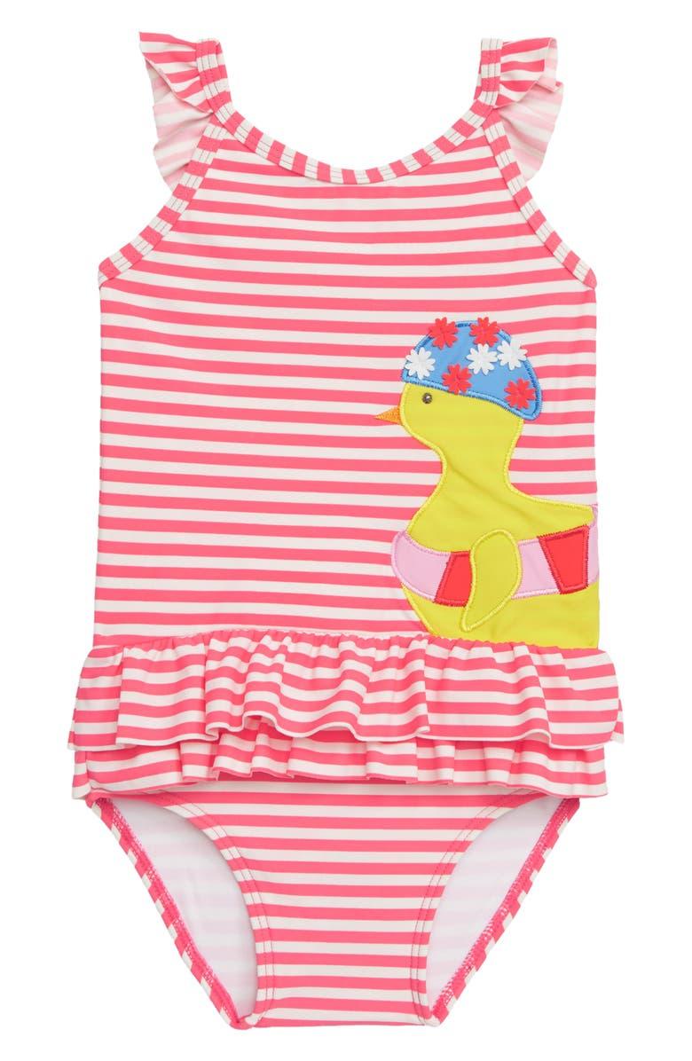 MINI BODEN Pretty Frill Appliqué One-Piece Swimsuit, Main, color, 664
