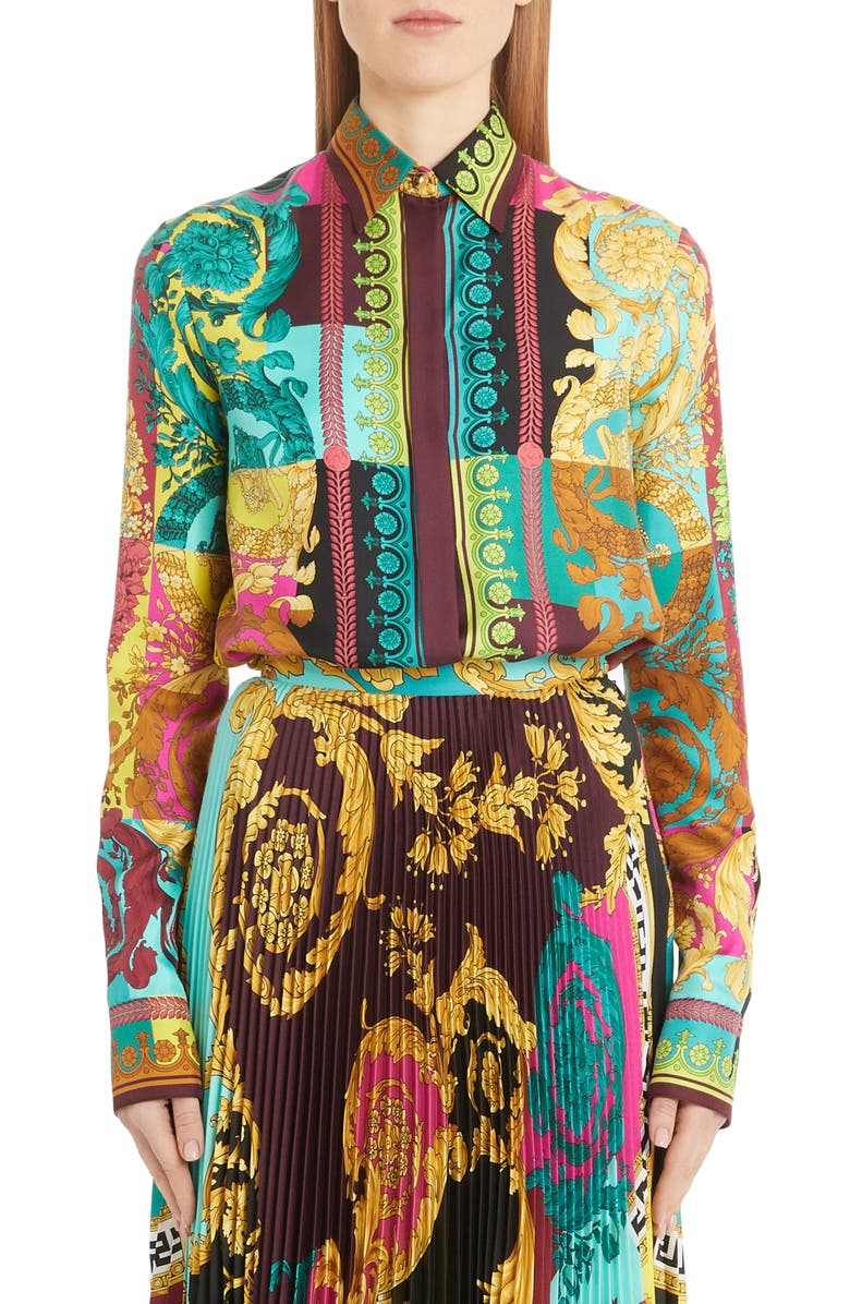 VERSACE Colorblock Mixed Print Silk Shirt, Main, color, MULTI