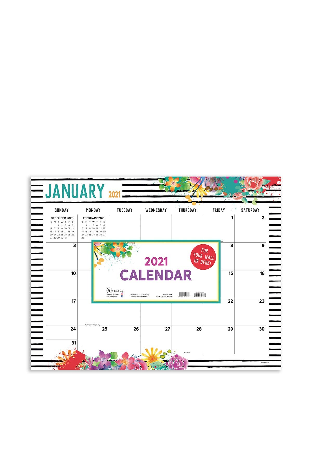 Image of TF Publishing 2021 Floral Desk Pad Calendar