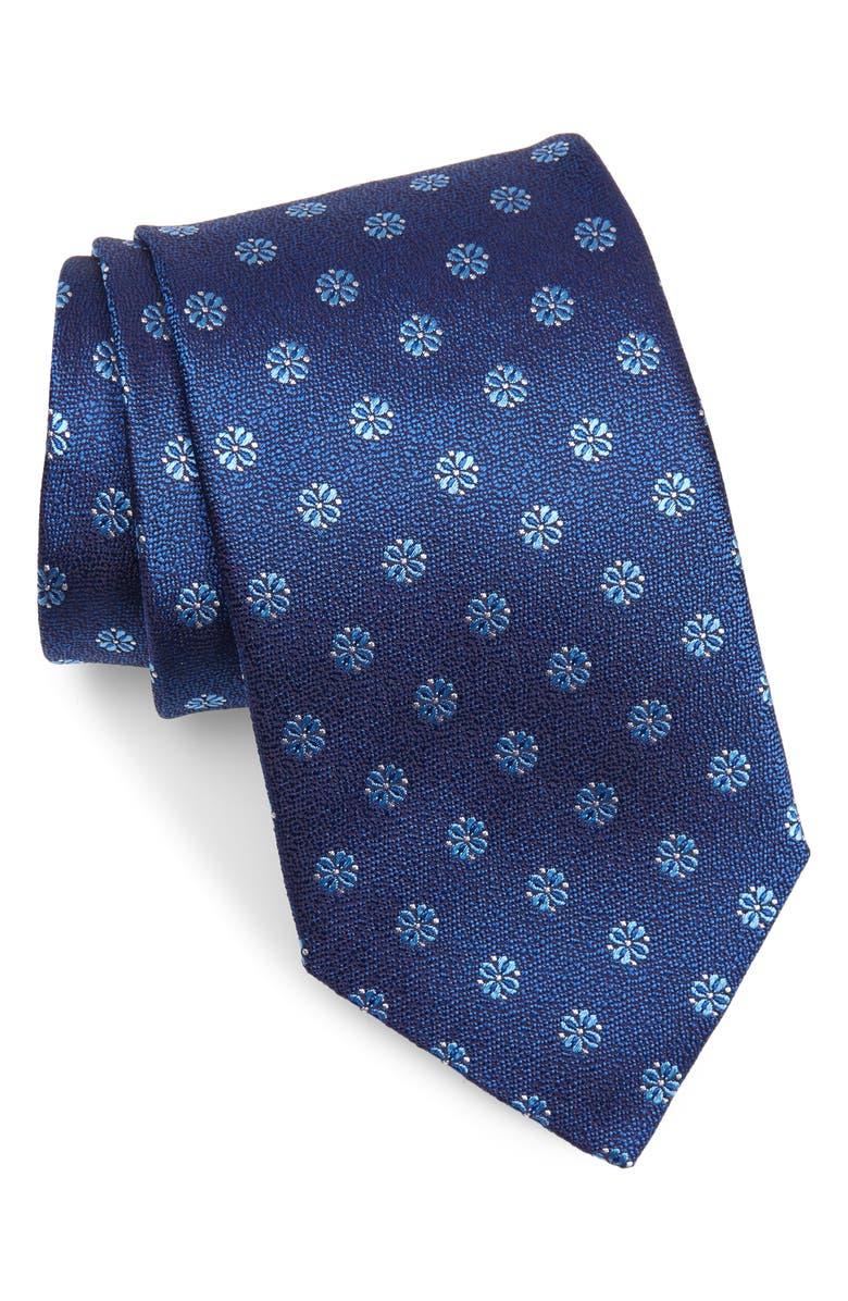 DAVID DONAHUE Medallion Silk X-Long Tie, Main, color, BLUE