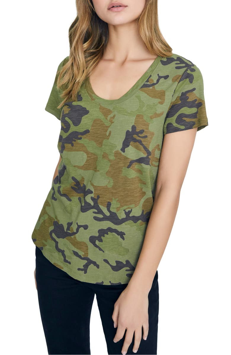 SANCTUARY Camo Print Cotton Blend Tee, Main, color, MINERAL CAMO