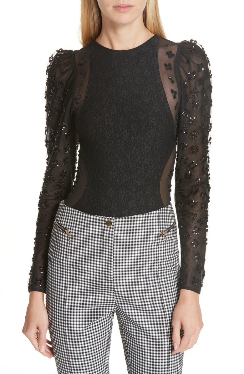 OPENING CEREMONY Sequin Jersey Bodysuit, Main, color, 001