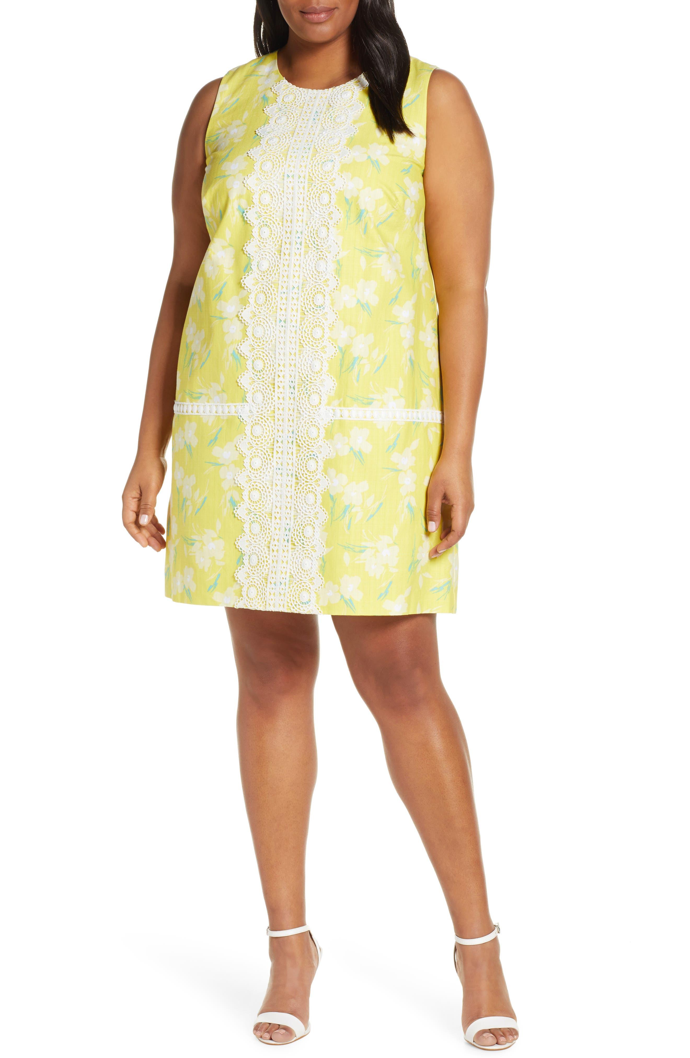 Plus Size Vintage Dresses, Plus Size Retro Dresses Plus Size Womens Eliza J Sleeveless Lace Trim Floral Shift Dress Size 14W - Yellow $88.80 AT vintagedancer.com