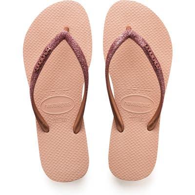 Havaianas Slim Glitter Flip Flop, 1/42 BR - Pink