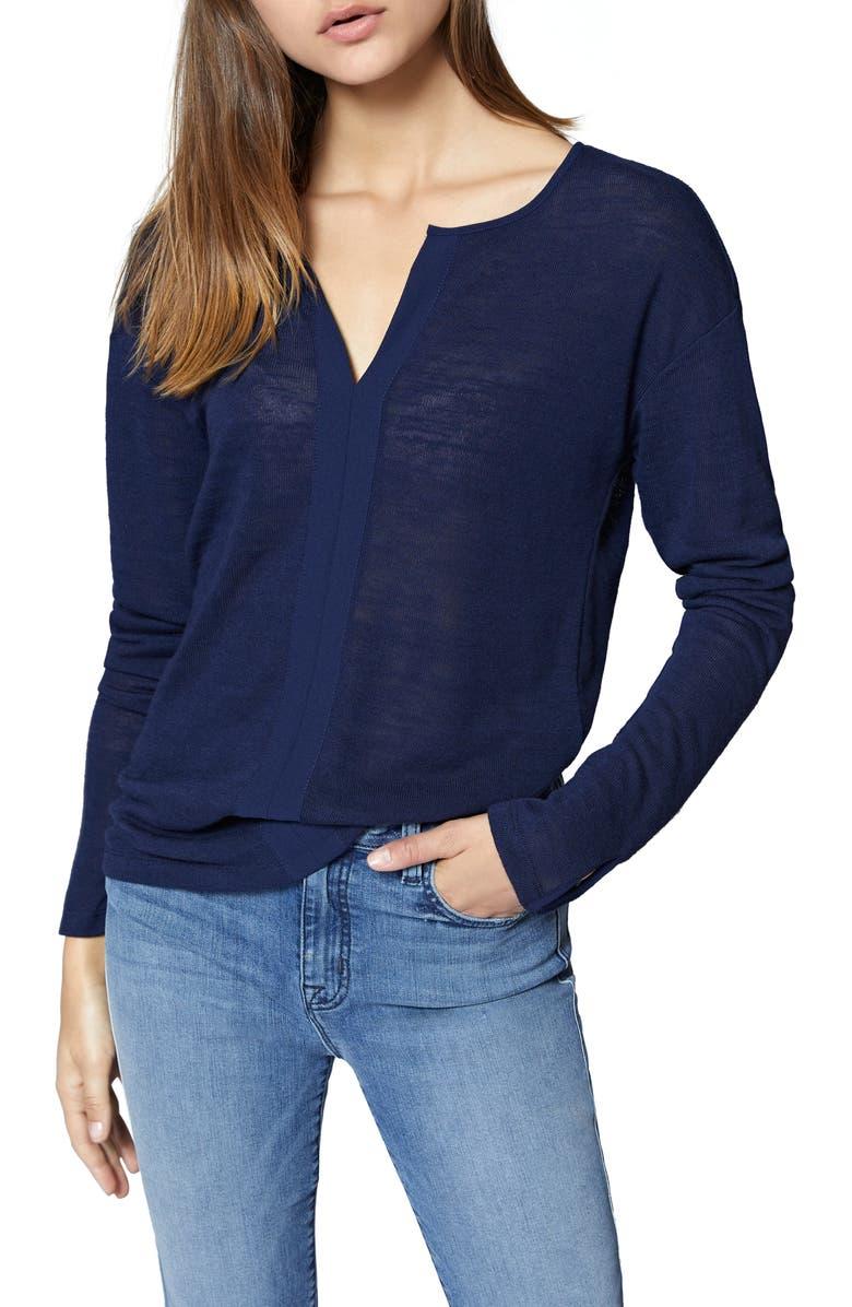 SANCTUARY Sienna Woven Trim Top, Main, color, ESSNTL BLUE