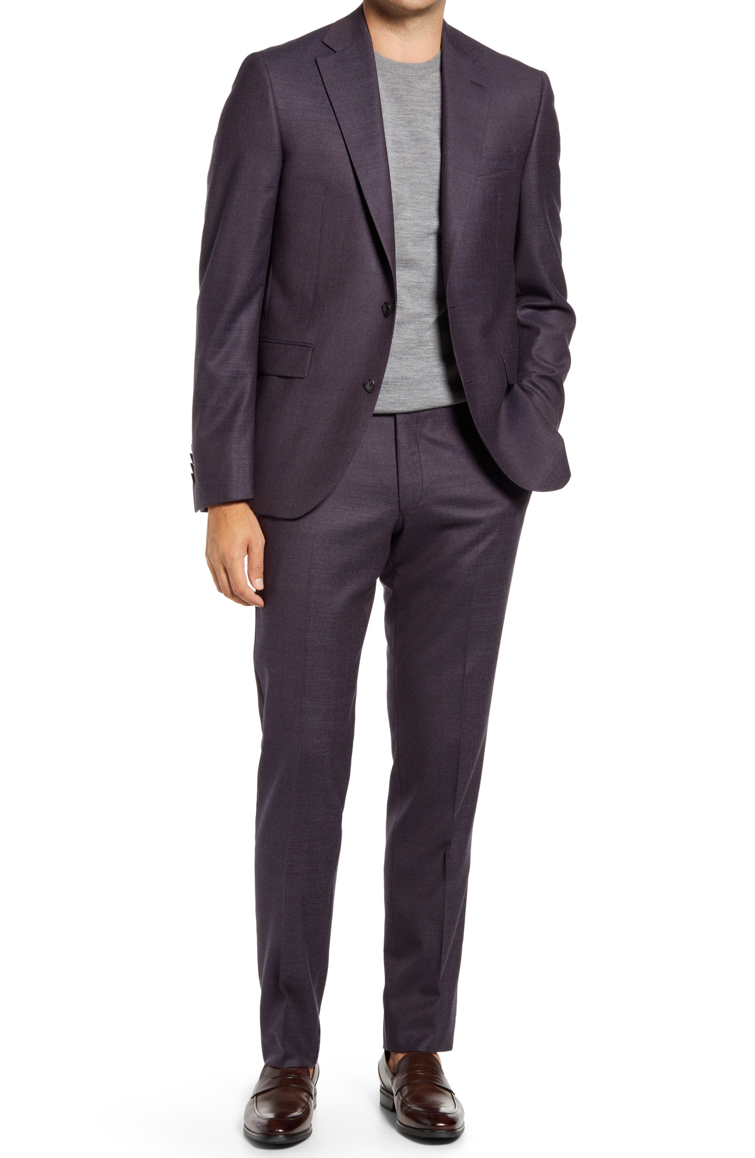Esprit Contemporary Fit Berry Tick Weave Stretch Wool Suit