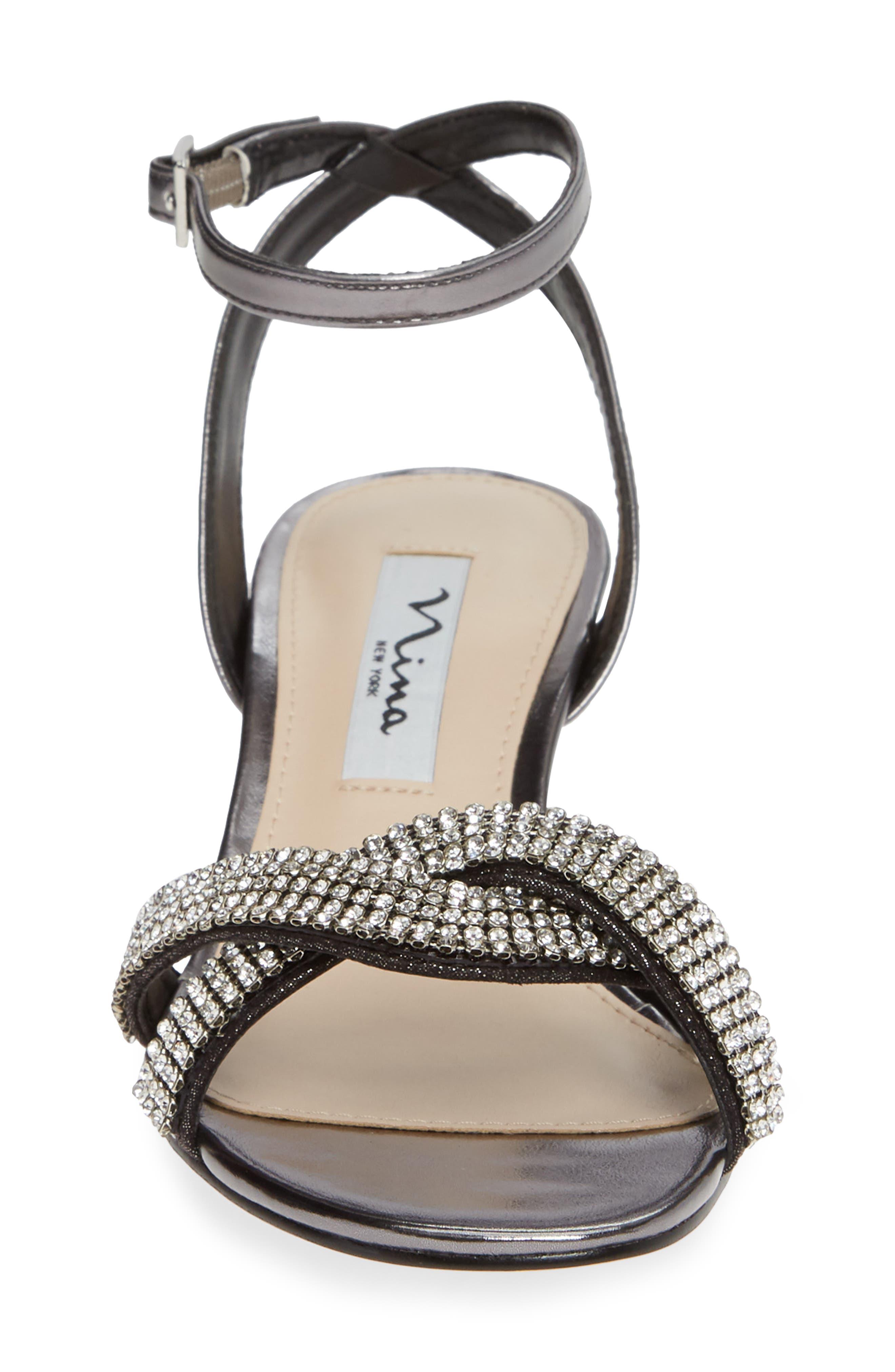 ,                             Florina Crystal Embellished Wedge Sandal,                             Alternate thumbnail 4, color,                             METALLIC GUNMETAL