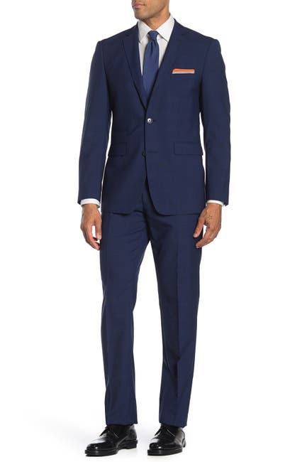 Image of Vince Camuto Navy Plaid Slim Fit 2-Piece Suit