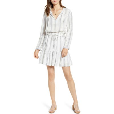 Rails Layla Stripe Long Sleeve Linen Blend Dress, White