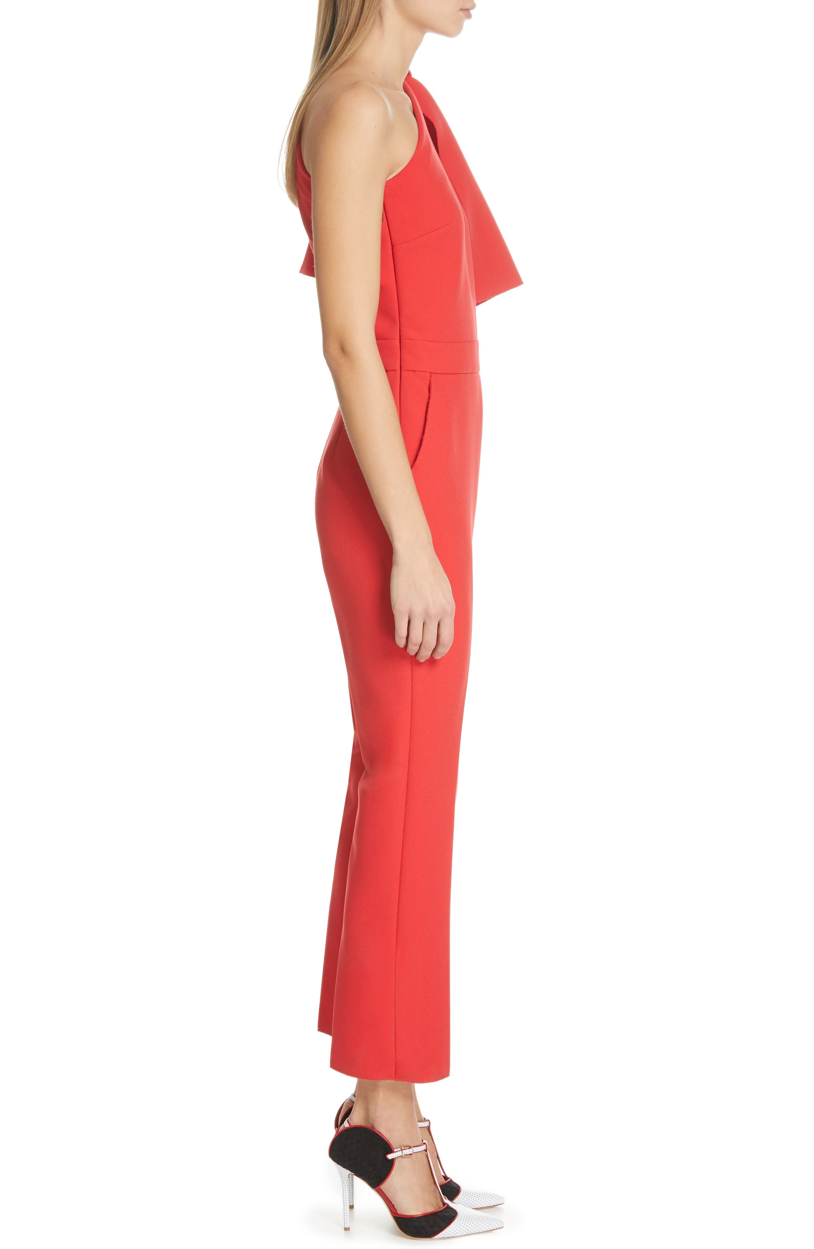 ,                             Bow One-Shoulder Jumpsuit,                             Alternate thumbnail 3, color,                             RED