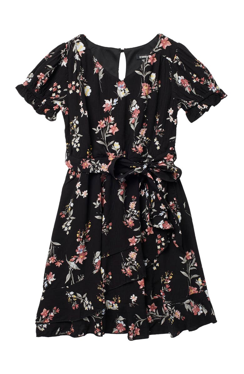 ZUNIE Short Sleeve Floral Ruffle Wrap Dress, Main, color, BLK/BLUSH
