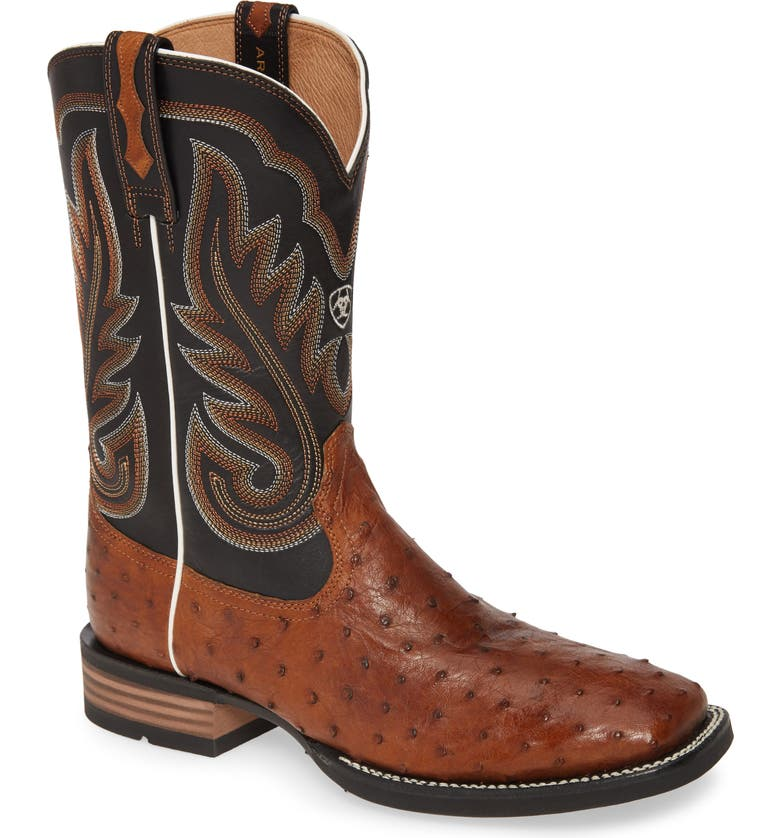 ARIAT Promoter Cowboy Boot, Main, color, CARAMEL FULL QUILL OSTRICH