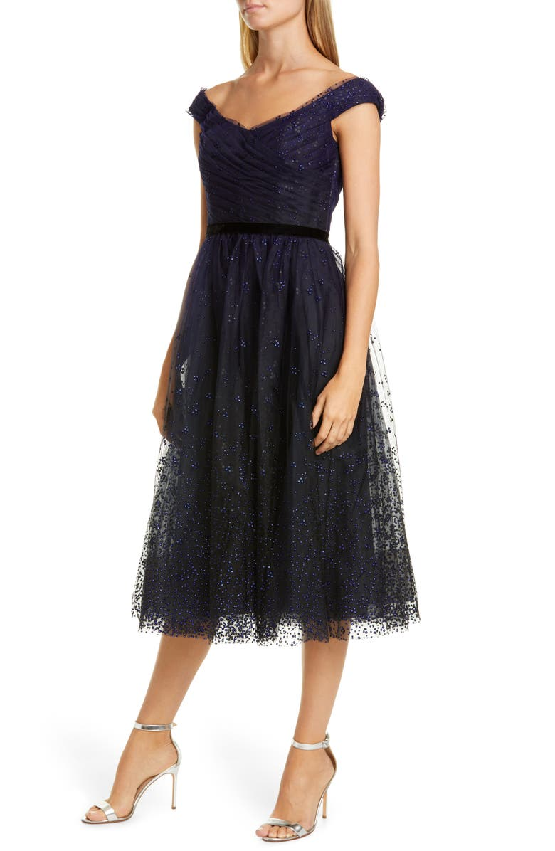 MARCHESA NOTTE Off the Shoulder Tulle Cocktail Dress, Main, color, NAVY