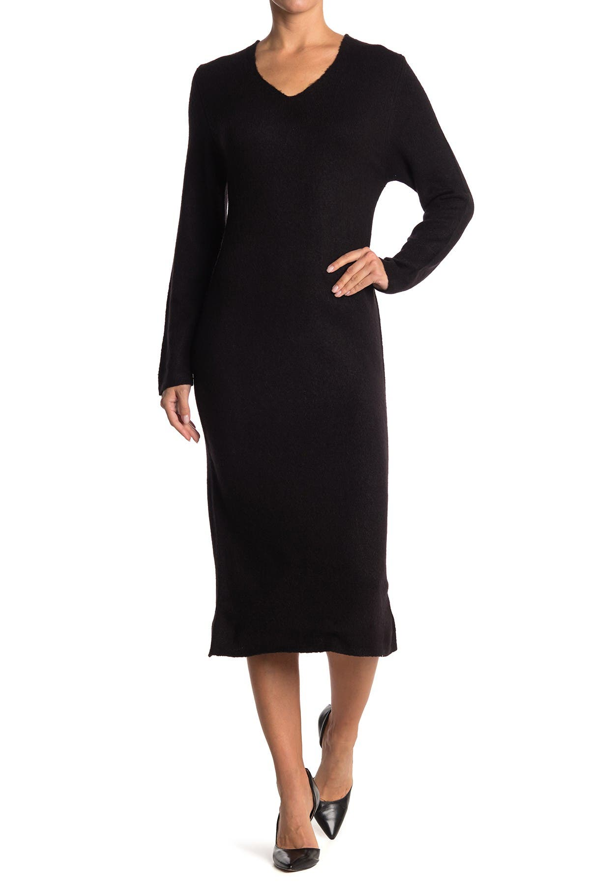 Image of Cloth By Design Cozy Yarn V-Neck Sweater Dress
