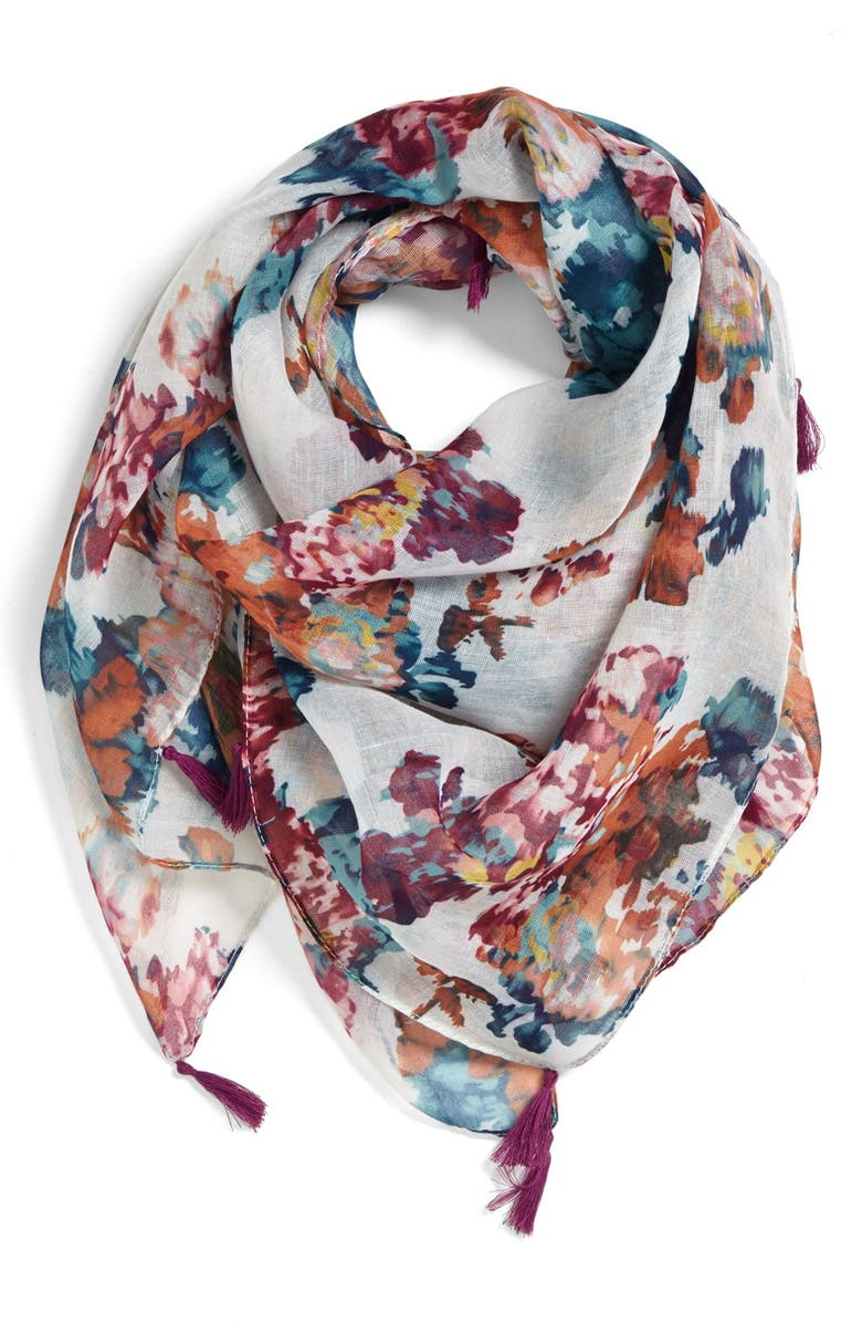 LULU Tasseled Floral Scarf, Main, color, 000