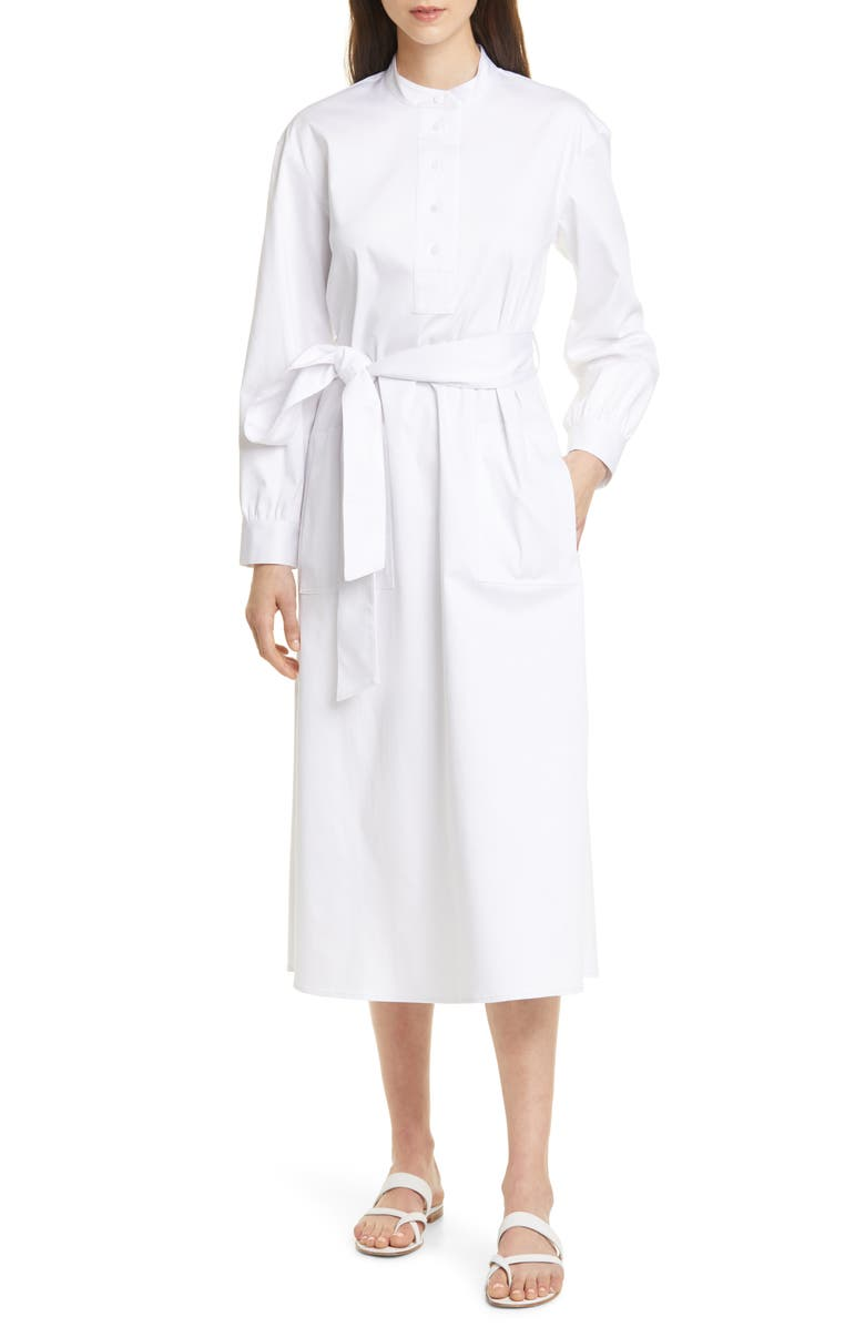CLUB MONACO Half Placket Long Sleeve Midi Dress, Main, color, 100