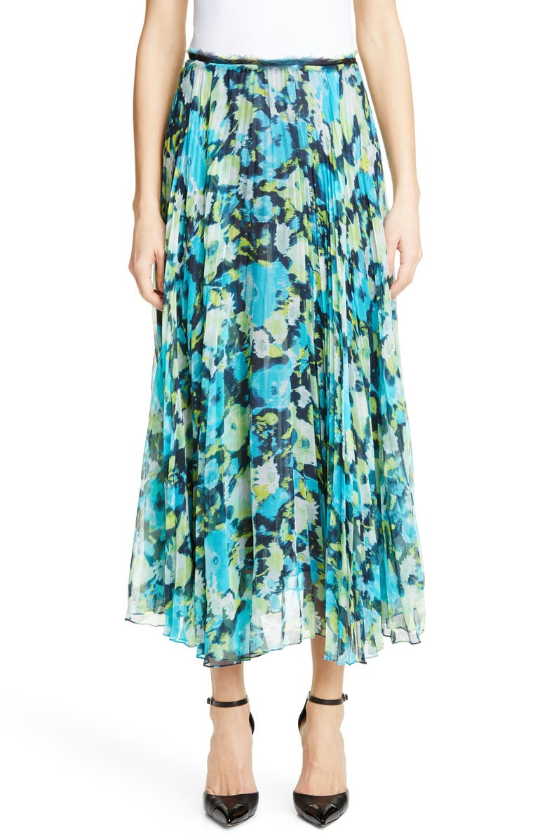 JASON WU COLLECTION Floral Print Pleated Chiffon Skirt, Main, color, 300