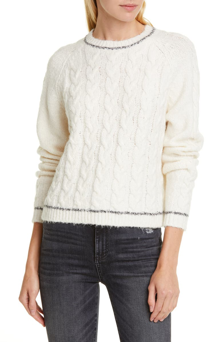 LINE Freya Cable Knit Sweater, Main, color, BILLOW