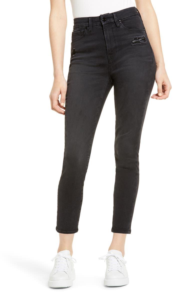 GOOD AMERICAN Good Waist Ripped High Waist Crop Jeans, Main, color, BLACK113