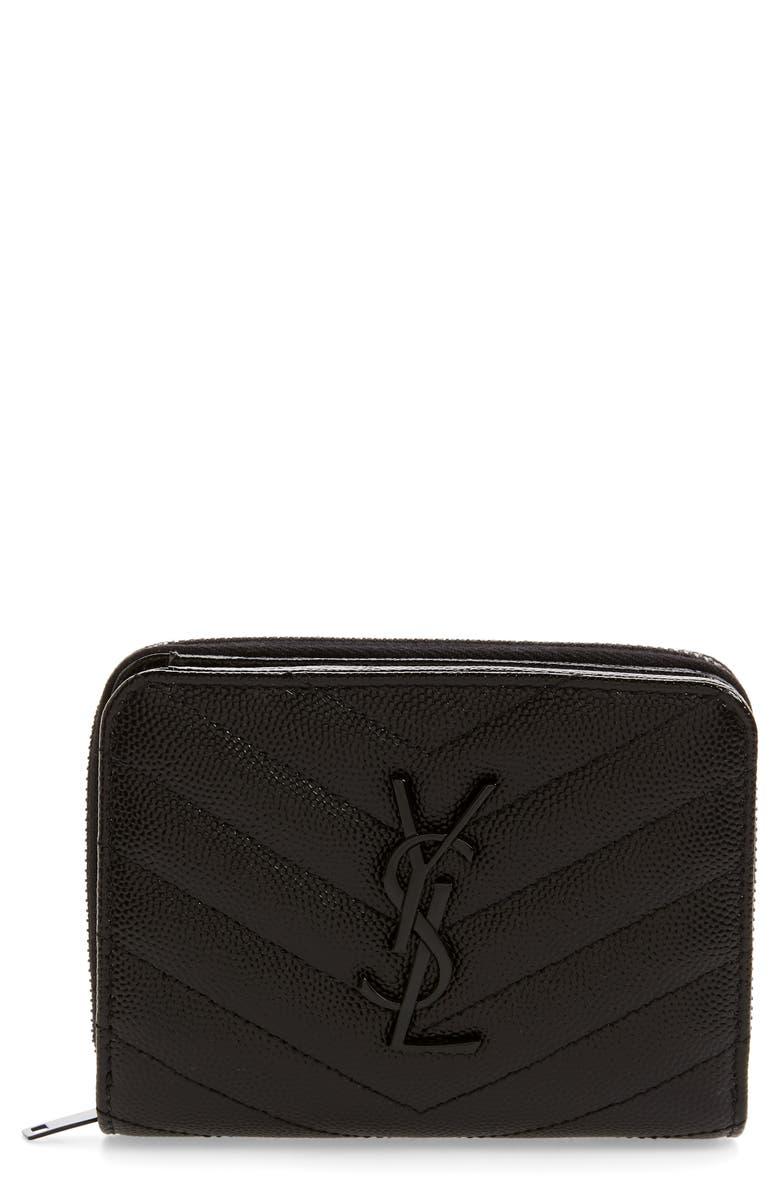 SAINT LAURENT Small Monogram Grained Leather Wallet, Main, color, NOIR