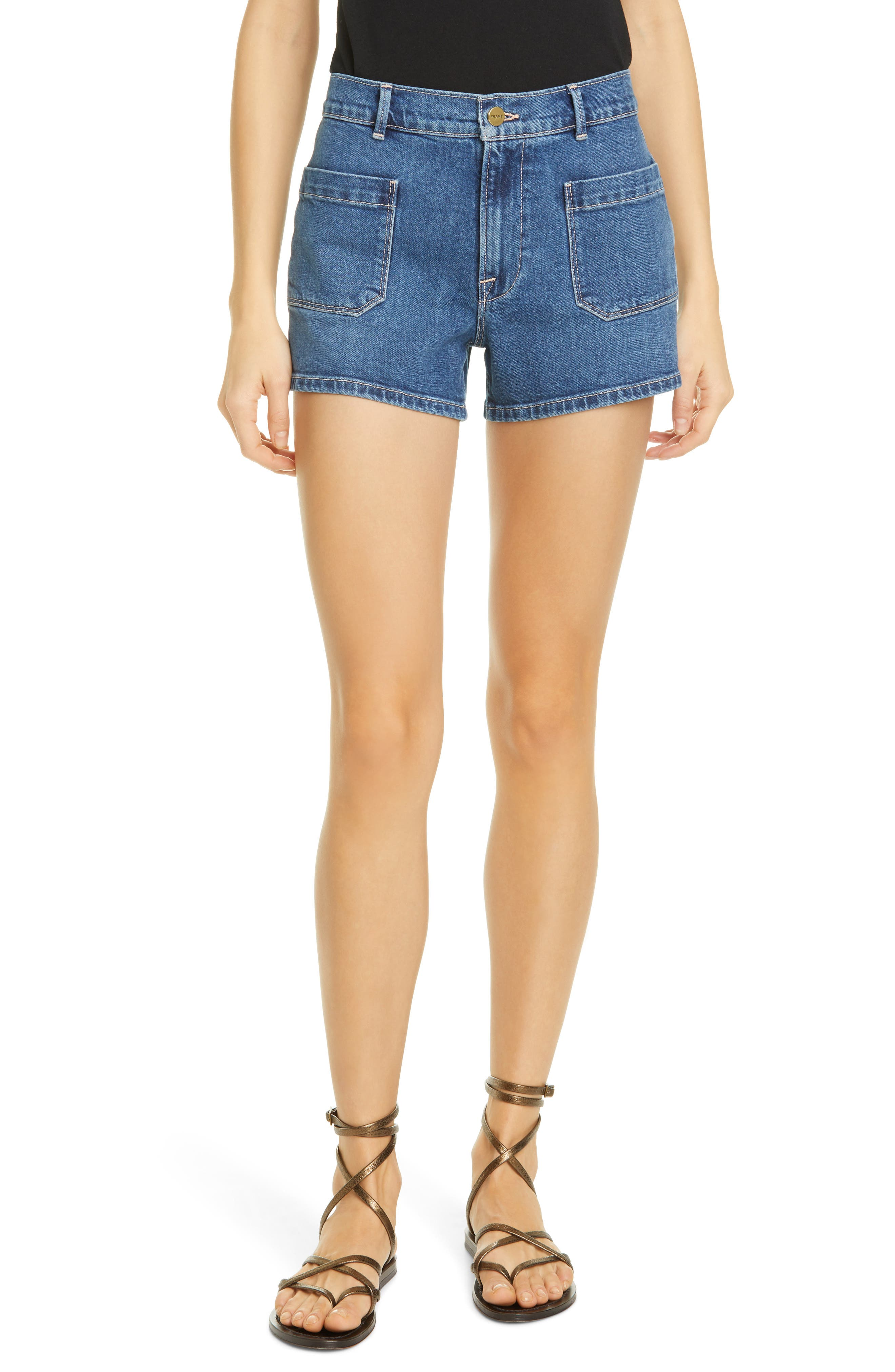 Women's Frame Le Bardot High Waist Denim Shorts,  23 - Blue