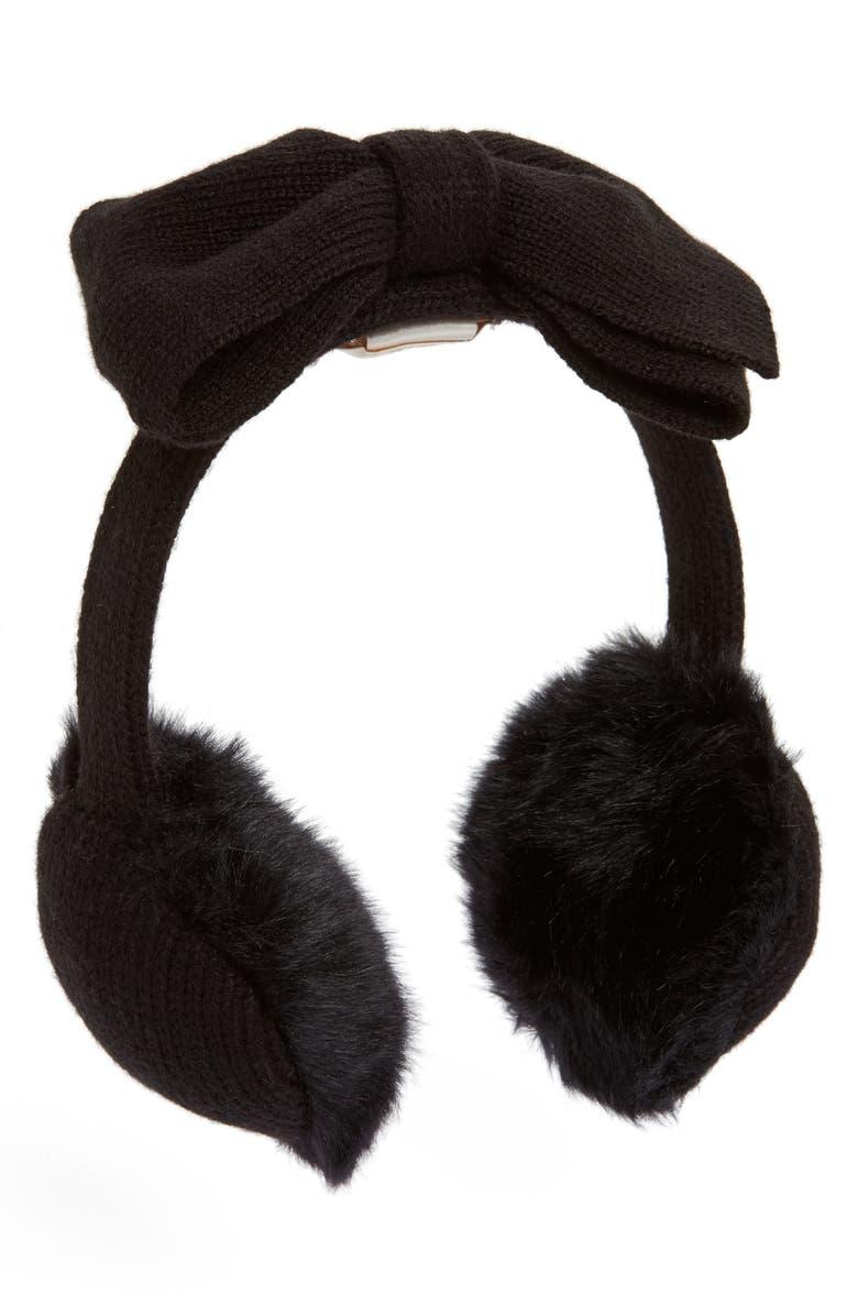 KATE SPADE NEW YORK half bow faux fur earmuffs, Main, color, BLACK/DNU