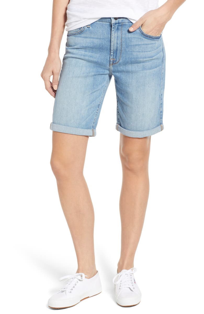 JEN7 BY 7 FOR ALL MANKIND Roll Cuff Bermuda Shorts, Main, color, 400