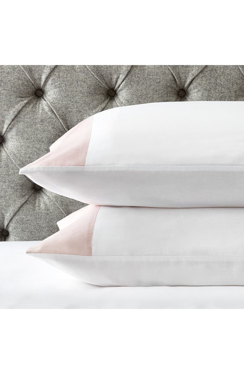 THE WHITE COMPANY Portobello Pillowcase, Main, color, PETAL/ WHITE