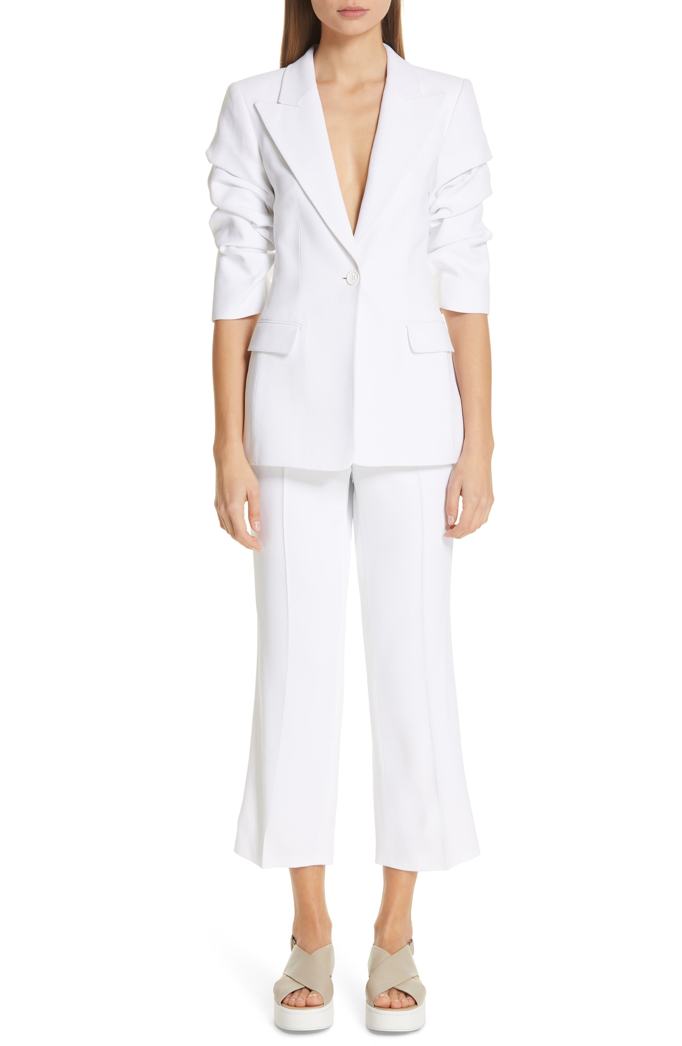 ,                             Ruched Sleeve Blazer,                             Alternate thumbnail 8, color,                             OPTIC WHITE