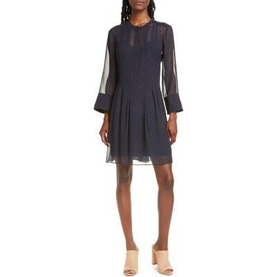 Club Monaco Anneliane Dot Print Pintuck Detail Silk Georgette Dress, Blue