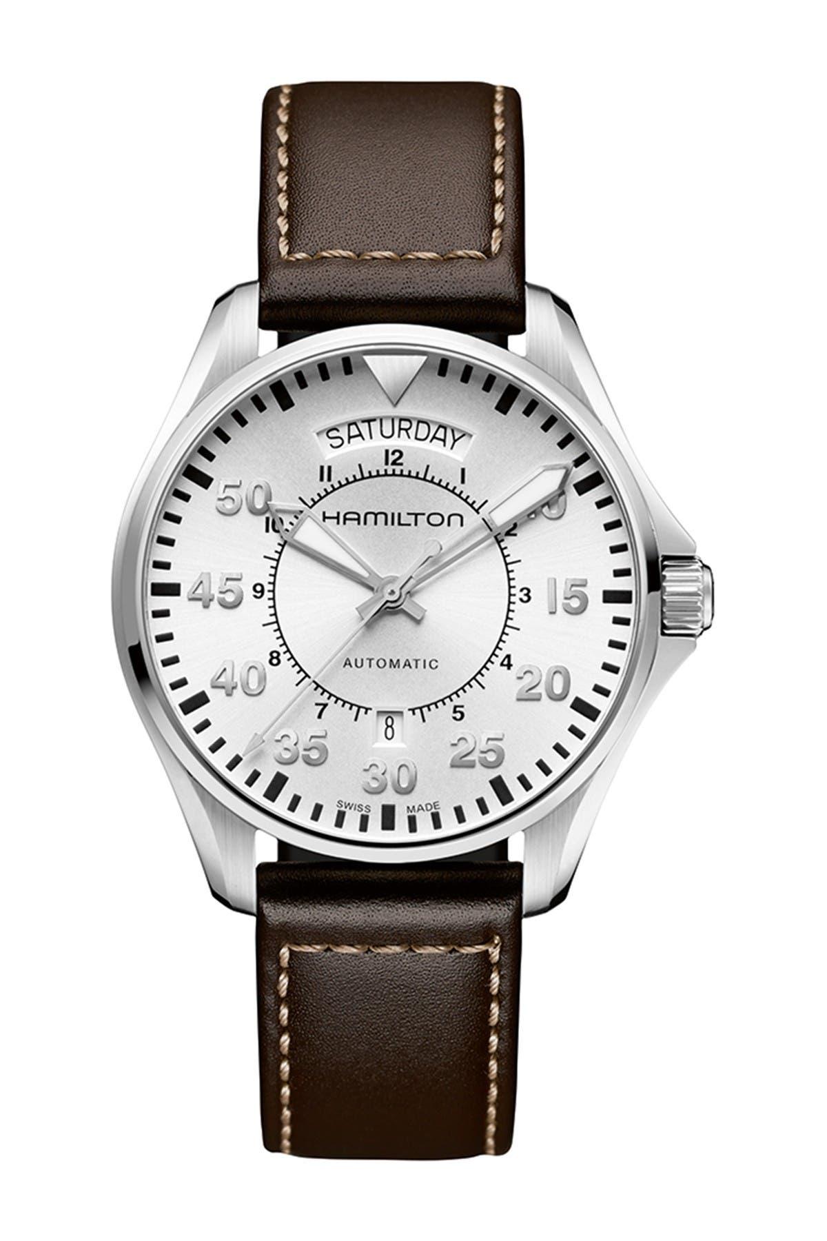 Image of Hamilton Men's Khaki Pilot Automatic Leather Strap Watch, 42mm