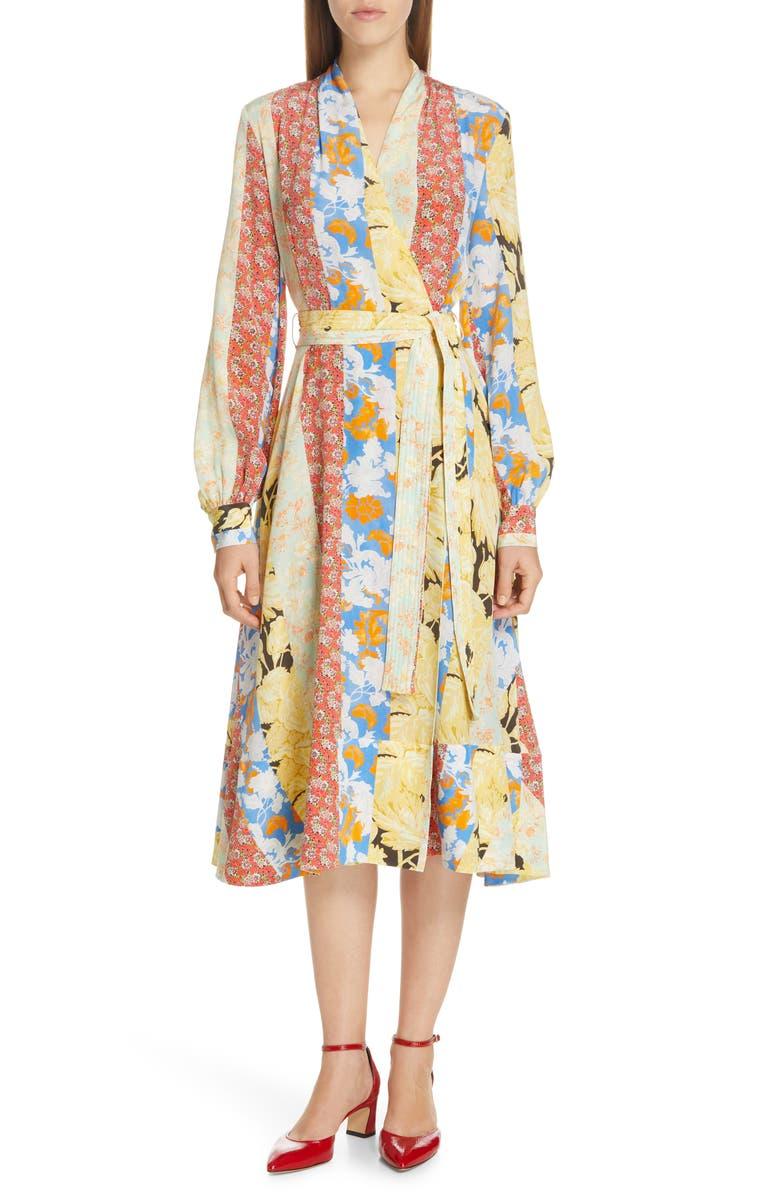 STINE GOYA Reflection Floral Stripe Silk Wrap Dress, Main, color, 700