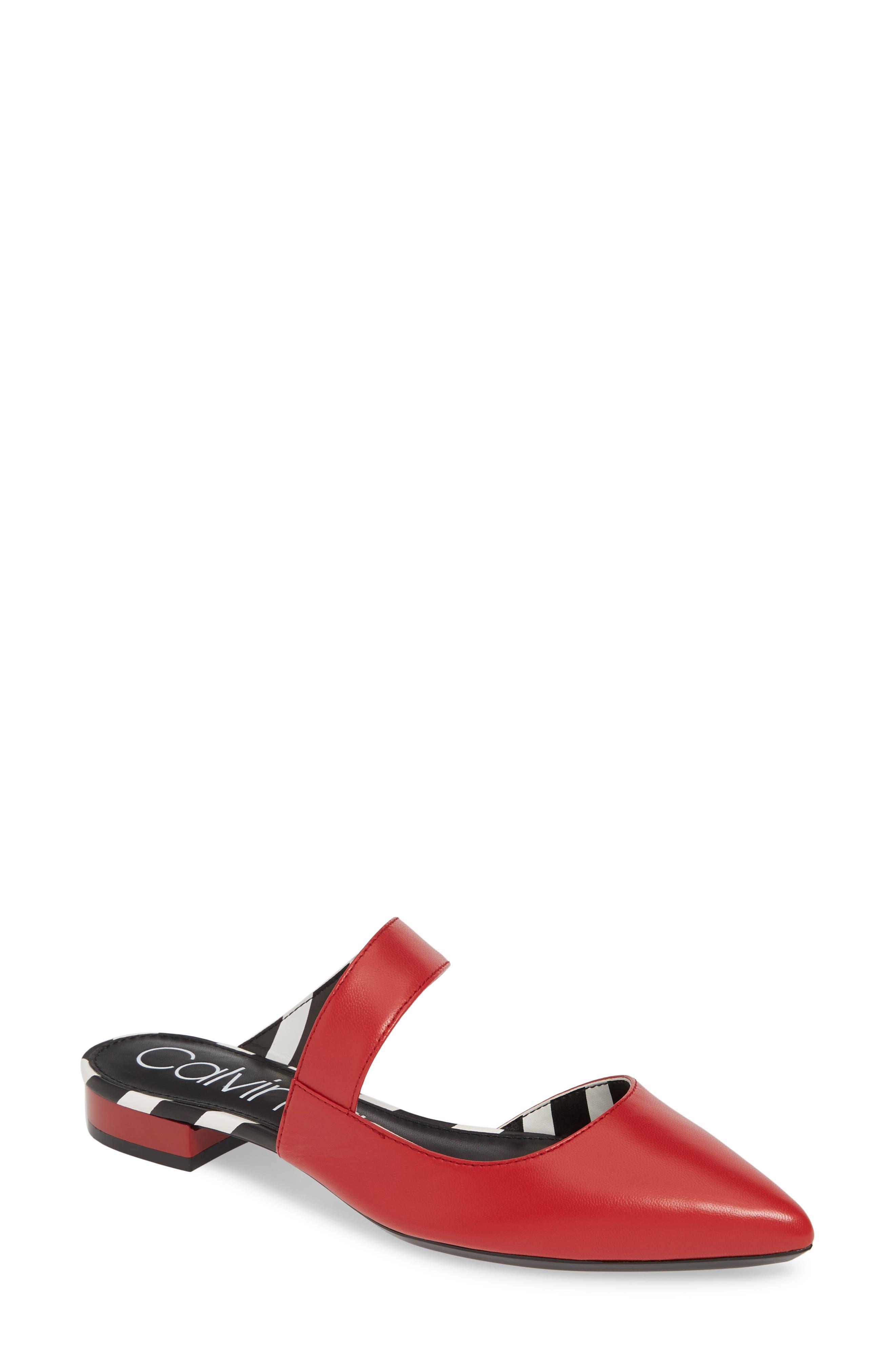 Calvin Klein Arleys Asymmetrical Pointy Toe Mule- Red
