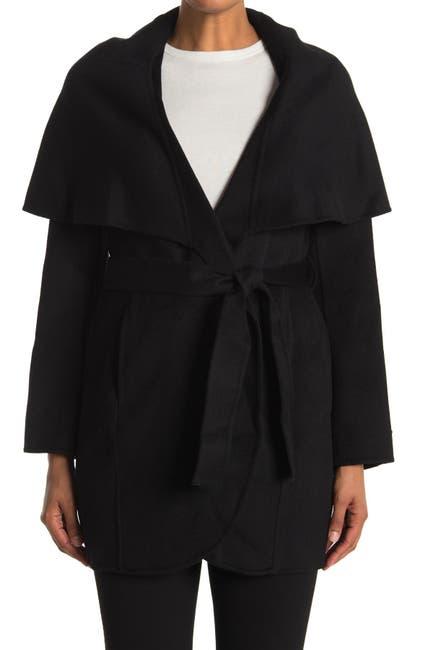 Image of Tahari Marilyn Shawl Collar Tie Waist Wool Blend Coat