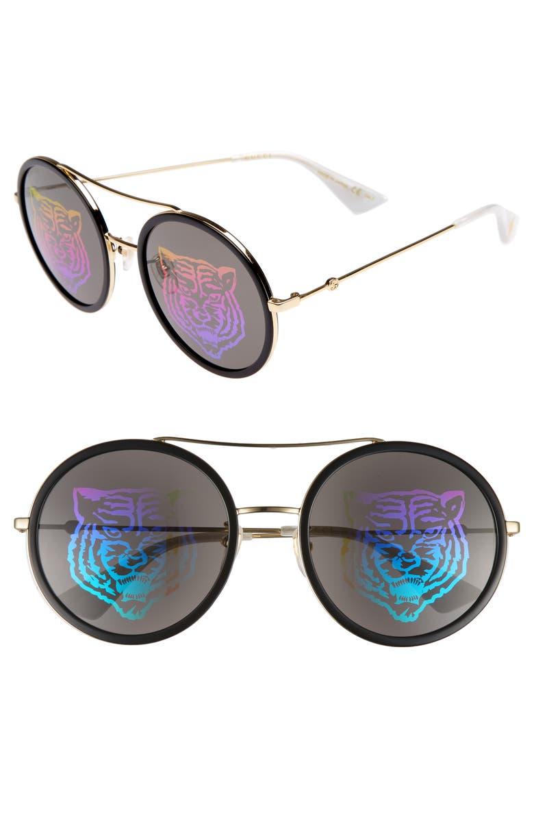 GUCCI 56mm Round Mirrored Aviator Sunglasses, Main, color, 715