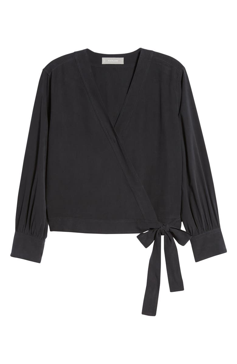 EVERLANE The Washable Silk Wrap Top, Main, color, BLACK