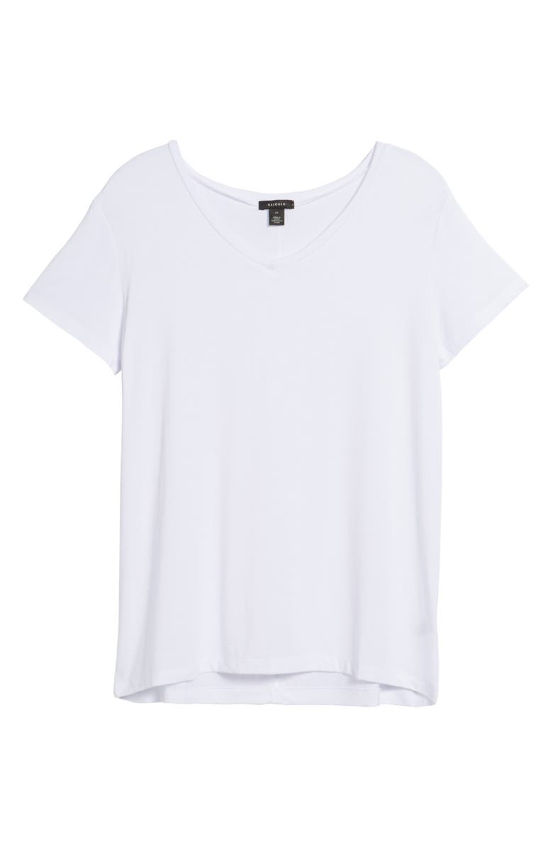 HALOGEN<SUP>®</SUP> Modal Jersey V-Neck Tee, Main, color, WHITE