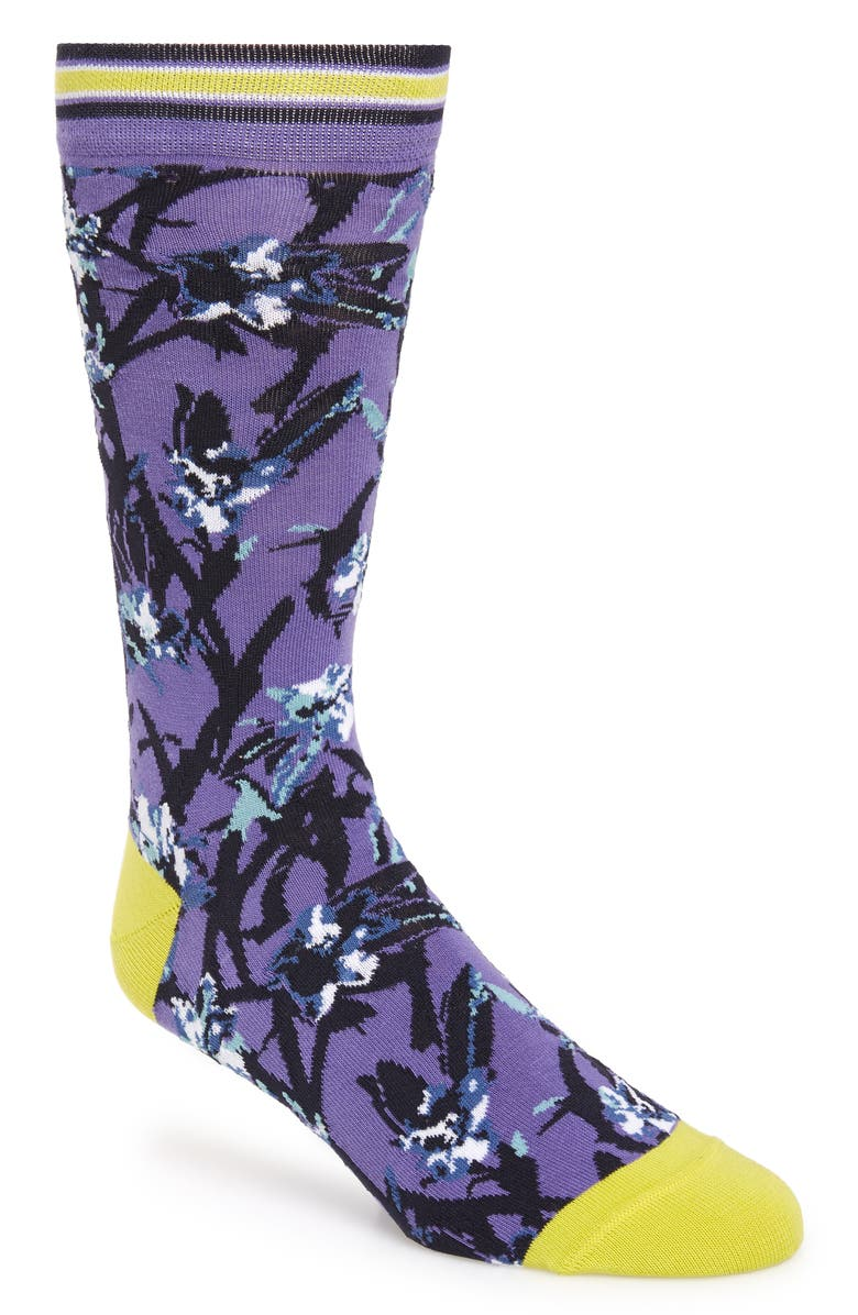 TED BAKER LONDON Floral Socks, Main, color, BLUE